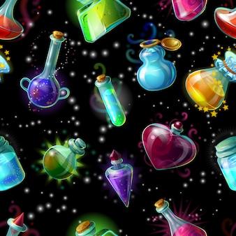 Nahtloses muster der magischen flaschen