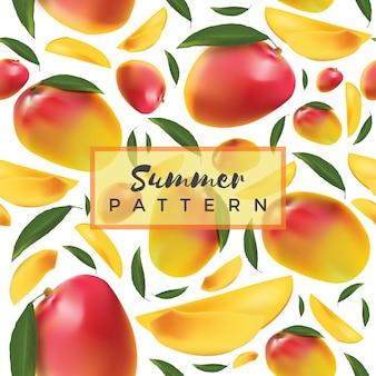 Nahtloses muster der mangos tropischer früchte