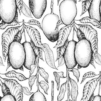 Nahtloses muster der mangozweige. hand gezeichnete tropische frucht. gravierte frucht. vintage exotisches essen hintergrund.