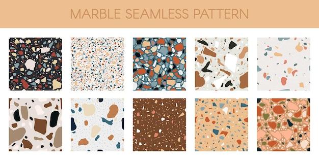 Nahtloses muster der marmorbeschaffenheit. abstraktes mosaikset aus quarz, granit und glasböden Premium Vektoren
