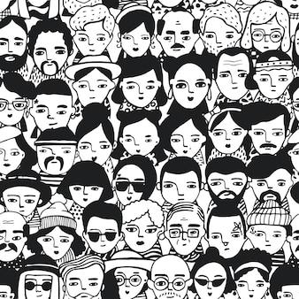 Nahtloses muster der menge verschiedener menschen-, frauen- und manngesichter. doodle porträtiert modische mädchen und männer. trendige handgezeichnete tapete. schwarzweiss-hintergrund.