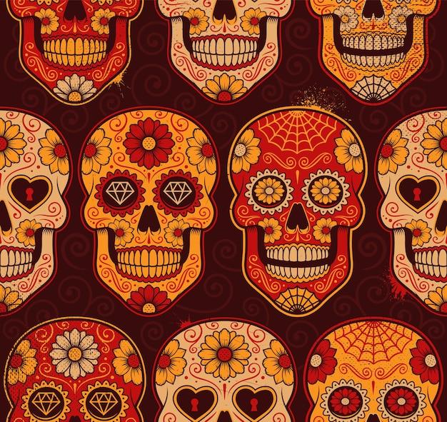 Nahtloses muster der mexikanischen calavera-schädel. jede farbe gehört zu einer gruppe