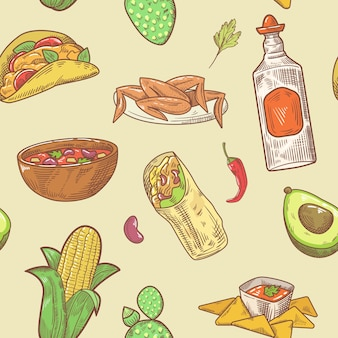 Nahtloses muster der mexikanischen küche