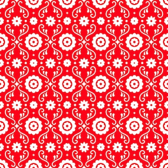 Nahtloses muster der mexikanischen volkskunst mit blumen auf rotem hintergrund. traditionelles design für fiestaparty. florale verzierte elemente aus mexiko. mexikanische folkloreverzierung.