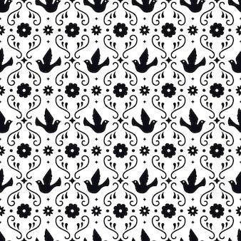 Nahtloses muster der mexikanischen volkskunst mit blumen, blättern und vögeln auf weißem hintergrund. traditionelles design für fiestaparty. florale verzierte elemente aus mexiko. mexikanische folkloreverzierung.
