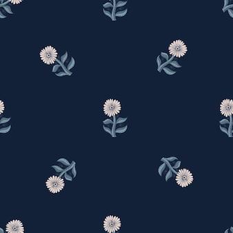 Nahtloses muster der minimalistischen artweinlese mit gekritzel-sonnenblumenelementen. dunkler marineblauer hintergrund. grafikdesign für packpapier und stofftexturen. vektor-illustration.