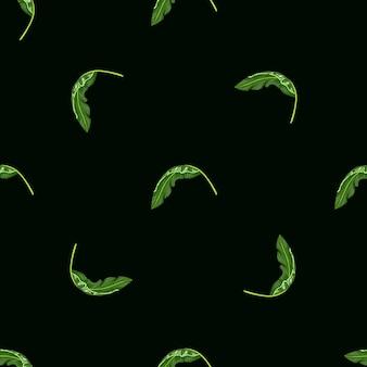 Nahtloses muster der minimalistischen botanik mit kleinen grünen tropischen blattformen. schwarzer hintergrund. vektorillustration für saisonale textildrucke, stoffe, banner, hintergründe und tapeten.