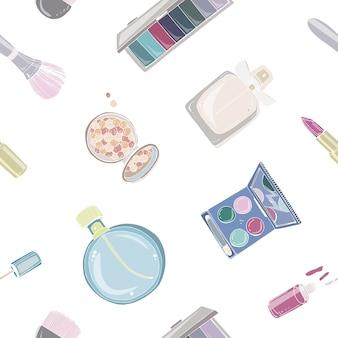 Nahtloses muster der modekosmetik mit make-up-künstlerobjekten. bunte hand gezeichnete illustration.