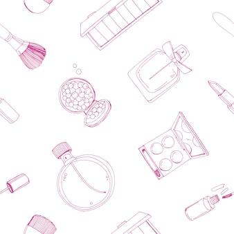 Nahtloses muster der modekosmetik mit make-up-künstlerobjekten.