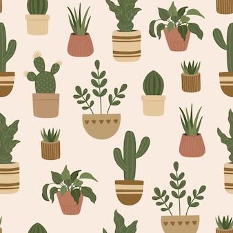 Nahtloses muster der modernen zimmerpflanzen, trendige handgezeichnete exotische blumen in töpfen, bunter gekritzelflacher stil.