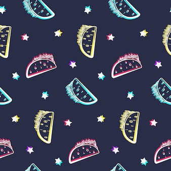 Nahtloses muster der nachtparty mit glänzenden tacos und sternen. comic-flache mexikanische umriss-taco-textur
