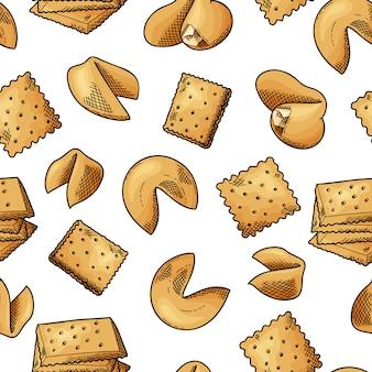 Nahtloses muster der natürlichen nahrung. cookies im sketch-stil