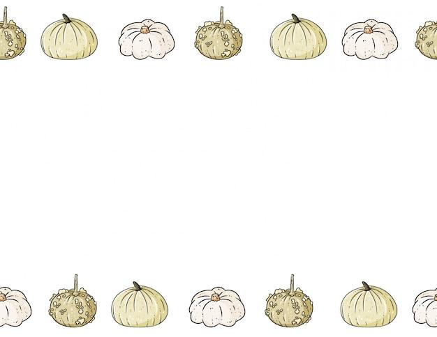 Nahtloses muster der netten bunten kürbiskarikatur. halloween dekoration banner