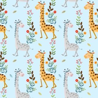 Nahtloses muster der netten giraffe und der blumen für gewebetextiltapete.