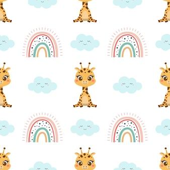 Nahtloses muster der netten giraffe und des regenbogens