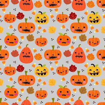 Nahtloses muster der netten halloween-kürbise und -blätter.