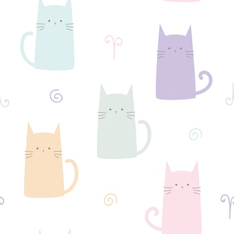 Nahtloses muster der netten kätzchenkatzen-pastellkarikatur