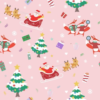Nahtloses muster der netten karikatur frohen weihnachten.