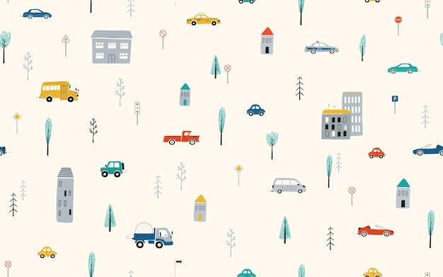 Nahtloses muster der netten kinder mit autos, straße, häusern auf hellem hintergrund. illustration einer stadt im cartoon-stil für tapeten-, stoff- und textildesign. vektor