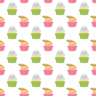 Nahtloses muster der netten ostern-cupcakes mit kaninchen, huhn und karotte