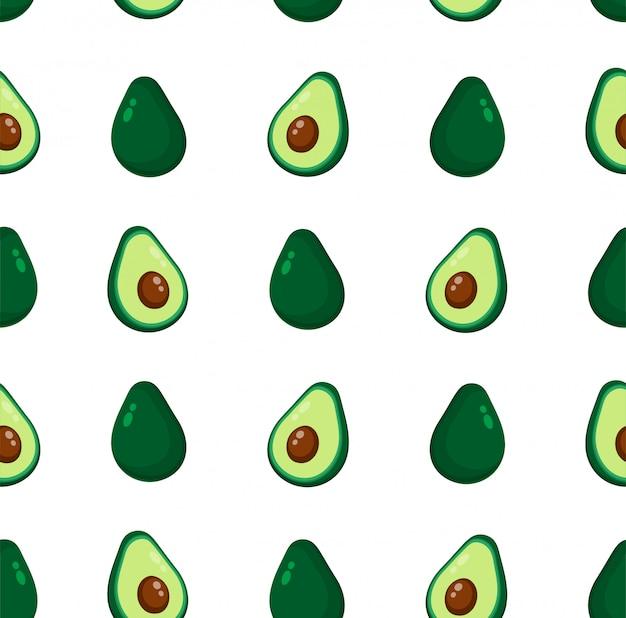 Nahtloses muster der netten schönheitsavocado. flache cartoon illustration symbol, isoliert auf weiss. avocado-muster