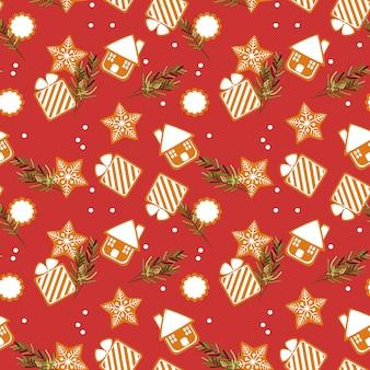 Nahtloses muster der netten weihnachtsplätzchen.
