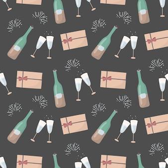 Nahtloses muster der neujahrs- oder romantischen feiertagsdekoration. weinflasche und gläser champagner, feiertag, umschlag mit einem liebesbrief.