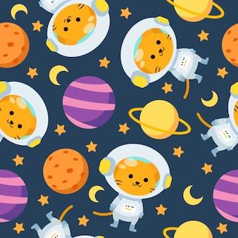 Nahtloses muster der niedlichen astronautenkatzenkarikatur mit mond und planeten im raum