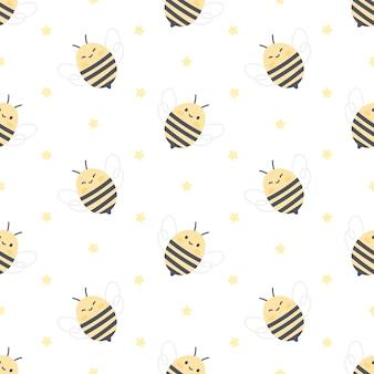 Nahtloses muster der niedlichen biene und der sterne