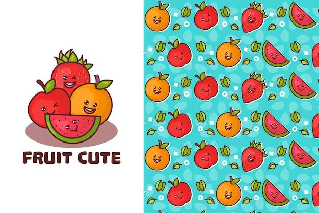 Nahtloses muster der niedlichen frucht