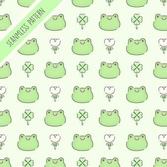 Nahtloses muster der niedlichen grünen frösche Premium Vektoren