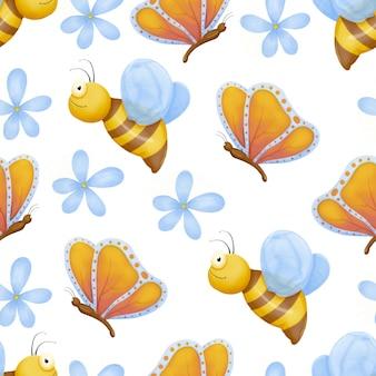 Nahtloses muster der niedlichen käfer. kind zeichnet insekten, fliegende schmetterlinge und marienkäferbaby. blumenschmetterling, fliegeninsekt und käfer.
