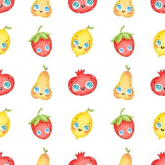 Nahtloses muster der niedlichen karikaturbuntfrüchte auf einem weißen hintergrund. birne, granatapfel, erdbeere, zitrone