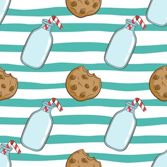 Nahtloses muster der niedlichen milch in der flasche mit keksen