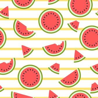 Nahtloses muster der niedlichen roten wassermelonenscheiben