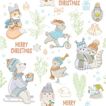 Nahtloses muster der niedlichen tiere der weihnachten. gekritzelbär kaninchen waschbär eule fuchs maulwurf. hand gezeichnete skizze