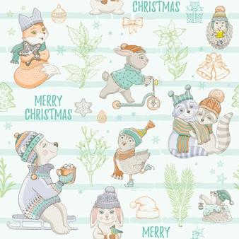 Nahtloses muster der niedlichen tiere der weihnachtsminze. gekritzelbär kaninchen waschbär eule fuchs maulwurf. hand gezeichneter skizzenhintergrund. weihnachten isolierte illustration. geschenkpapier, kinderverpackung, kinderstoffdruck