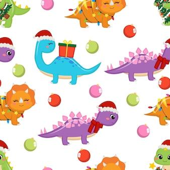 Nahtloses muster der niedlichen weihnachtsthemadinosaurier