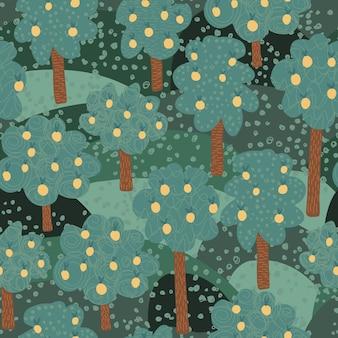 Nahtloses muster der obstbäume.