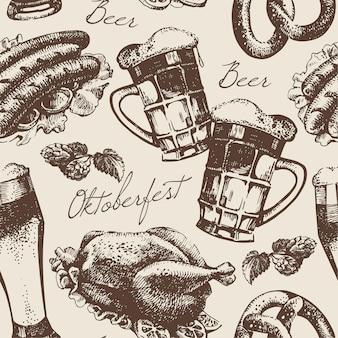 Nahtloses muster der oktoberfestweinlese. handgezeichnete abbildung