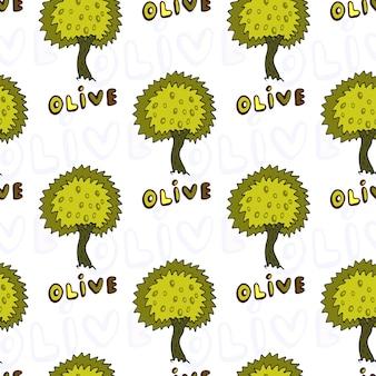 Nahtloses muster der olivenbäume. vektor-doodle-hintergrund