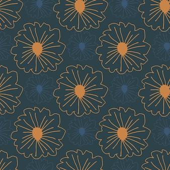 Nahtloses muster der orange konturierten blumen auf dunkelblauem hintergrund. einfache botanische kulisse.