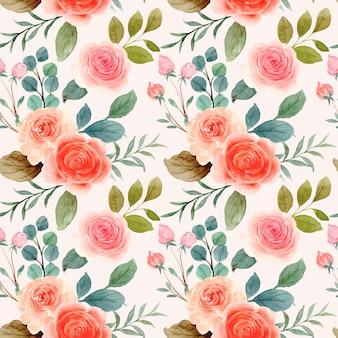 Nahtloses muster der orange rosa rose mit aquarell