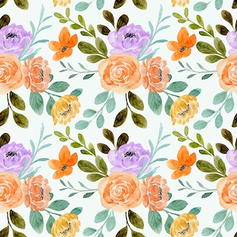 Nahtloses muster der orangefarbenen rosenblüte mit aquarell