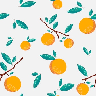Nahtloses muster der orangen und der blätter