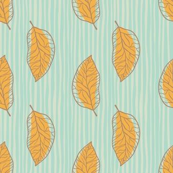 Nahtloses muster der orangenblattsilhouetten. blauer gestreifter hintergrund. einfacher botanischer umrissdruck.