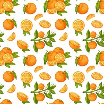 Nahtloses muster der orangenfrucht.