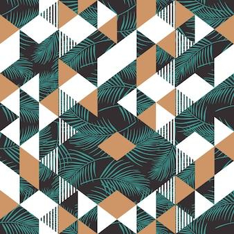 Nahtloses muster der palmblätter mit memphis-dreieck