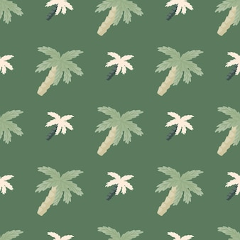 Nahtloses muster der paradiesnatur mit einfacher art-kokospalmenverzierung. grüne blasse farbengrafik.