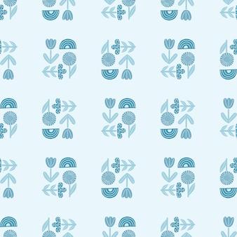 Nahtloses muster der pastellblauen abstrakten blumenverzierung
